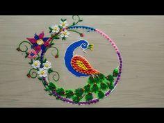 How to make easy and simple/unique peacock rangoli designs by Jyoti Rathod Colorful Rangoli Designs, Rangoli Designs Diwali, Rangoli Designs Images, Diwali Rangoli, Beautiful Mehndi Design, Beautiful Rangoli Designs, Creative Colour, Creative Design, Rangoli Painting