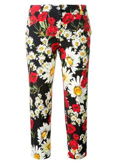 Dolce & Gabbana daisy and poppy print trousers