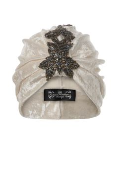 Cream iridescent velvet turban with coordinating by TheFHBoutique, £30.00