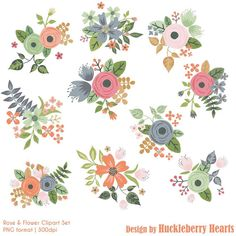 80% OFF SALE Flower Clipart Rose Clipart by HuckleberryHearts