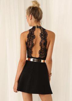 Pattern Type :PlainSleeve Length :SleevelessColor :BlackDresses Length :ShortStyle :FashionMaterial :PolyesterNeckline :HalterSilhouette :ShiftDecoration :LaceB