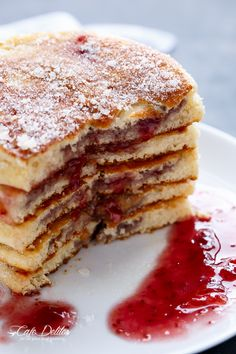 Jam (Jelly) Donut Pancakes   http://cafedelites.com