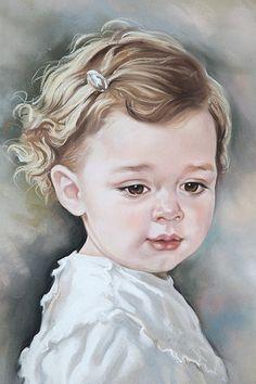 Custom Pastel portrait of a baby girl. Baby portrait by BograArt