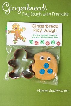 Gingerbread Play Dough with printable gift tags for winter class parties!