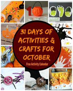 31 Days of Fun Crafts & Activities for October! FREE Activity Calendar! Learning activities, crafts, sensory, math games and more! Great for preschoolers & toddlers