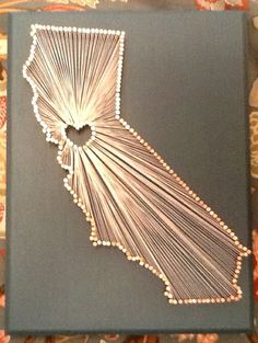California Love String Art, easy to DIY just trace a map! You can do this for your state/province and put the heart where you met!