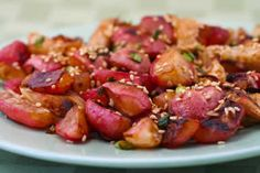 Roasted Radishes Recipe with Soy Sauce and Toasted Sesame Seed from Kalyn's Kitchen