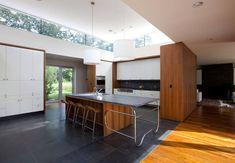 Modern Danish Modern Walnut Kitchen Design Ideas, Pictures, Remodel and Decor Grey Slate Floor Tiles, Modern Floor Tiles, Slate Flooring, Kitchen Flooring, Kitchen Countertops, Soapstone Kitchen, Hardwood Floor, Flooring Ideas, Kitchen Backsplash