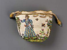 1700-1725, France - Drawstring bag - Glass beads strung on linen (sablé); silk…