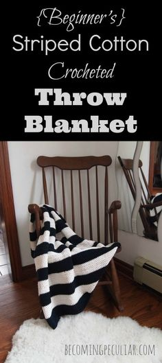 Beginner's 's striped black and white cotton crocheted throw blanket