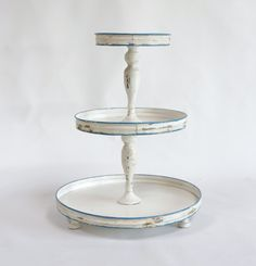 Tin 3-Tier Stand, Distressed Antique White & Blue