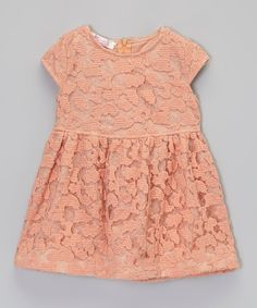 Look what I found on #zulily! Light Coral Lace Dress - Infant, Toddler & Girls by Sweet Charlotte #zulilyfinds