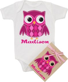 Pink Owl Personalized Printed Organic Bodysuit