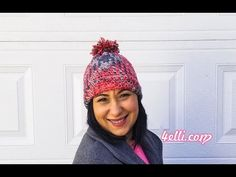 How to crochet an easy and beautiful hat with Planned Pooling Technique! Materials - 1 ball Red Hear With Love yarn * for. Poncho Knitting Patterns, Crochet Poncho, Free Crochet, Crochet Patterns, Crochet Hats, Aran Weight Yarn, Hat Tutorial, Crochet Videos, Knitted Hats