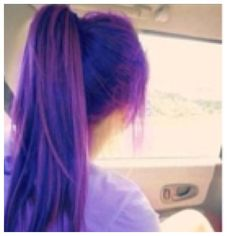 Purple hair in pony tail!! CUTE!!!