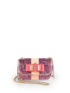 Christian Louboutin - Sweet Charity Glitter Mini Shoulder Bag - Saks.com--YES I need this. #girly #theperfectpop #cute