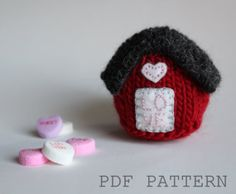 The Little House knitting pattern.  Lots of ideas included in the pattern to customize.  Home is where the my heart is / Home Sweet Home / House filled with LOVE. Knitting Pattern NEW / Valentine's Day / by FiftyFourTenStudio, $4.75