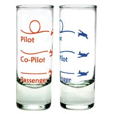 Pilot and Passenger Shot Glass $8.99 ea.