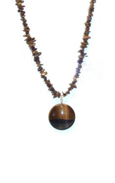 Handmade Tiger Eye Stone Necklace with Round Tiger by terririchard, $14.50