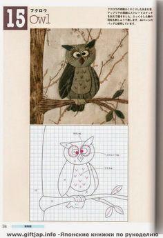ARTESANATO COM QUIANE - Paps,Moldes,E.V.A,Feltro,Costuras,Fofuchas 3D: molde de coruja para aplicação em patchwork