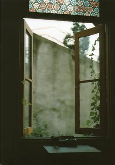 open window panes + that stain glass. Window View, Open Window, The Garden Of Words, Sweet Home, Through The Window, Light And Shadow, Windows And Doors, Architecture, Stained Glass