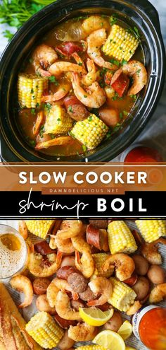 32 reviews · 5.5 hours · Serves 6 · Now you can have the classic shrimp boil right in the crockpot! This easy Father's Day recipe is one of the best you will ever serve up. Save this slow cooker shrimp recipe for a no-fuss… Seafood Boil Recipes, Shrimp Recipes, Seafood Boil Pot, Easy Shrimp Boil Recipe, Seafood Dishes, Slow Cooker Recipes, Crockpot Meals, Cooking Recipes, Slow Cooking
