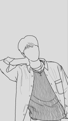 Outline Art, Outline Drawings, Art Drawings Sketches Simple, Kpop Drawings, K Pop, Bts Wallpaper, Otaku, T Art, Bts Chibi