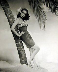 Dorothy Lamour movie star hawaii island tiki sarong dress photo print ad model magazine vintage fashions style
