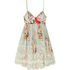 Zimmermann Sundance embroidered cotton dress ($630) ❤ liked on Polyvore featuring dresses, vestidos, tops, beachwear, coverups, green, cut-out back dresses, floral dress, flower print dress and floral cutout dress