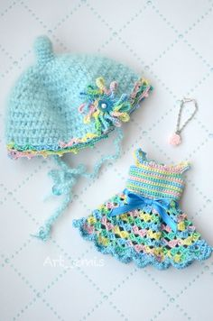 Crochet set for Blythe doll  Blue pink yellow by ByArtemis