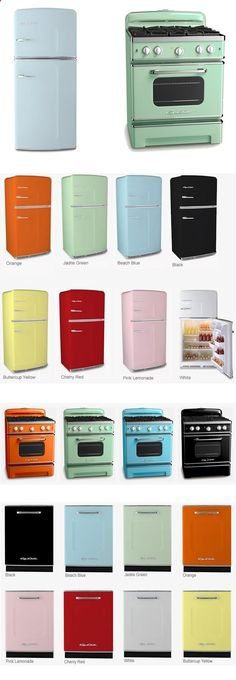 The Retro Kitchen Appliance Product Line Big Chill's full retro kitchen line that includes vintage stoves and retro fridges in 8 standard colors and 190 custom colors. Discover modern made classics here! - Add Modern To Your Life Big Chill, Retro Kitchen Appliances, Vintage Appliances, Home Appliances, Retro Kitchens, Painted Appliances, Modern Retro Kitchen, Kitchen Cabinets, Modern Room