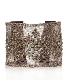 Bronze Shade Lace Crystal Swarovski Cuff Bracelet