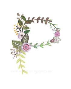 P Floral Letter Print