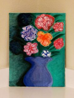 Violet Vase with colorful flowers by VibrantPictures on Etsy