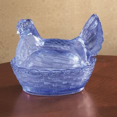 Ice Blue Glass Hen Candy Dish...$8.39