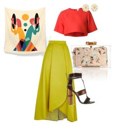 """""""holding onto summer"""" by iphigeniabythesea ❤ liked on Polyvore featuring Charlotte Olympia, Rosie Assoulin, Pinko, Tom Ford, Forever 21, coral, art, colorful and colourblock"""