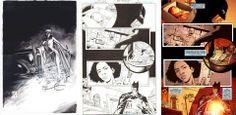 """Splash w białym i czarnym tuszu autorstwa gene Espy przedstawiający Catwoman koło batmobilu oraz strona 15 z 49. zeszytu serii """"Batman Confidental"""" w tuszu Boba Petrecci. #batman #darkknight #comic"""