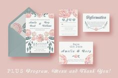 Watercolour Wedding Suite by Knotted Design on @creativemarket