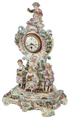 A Century Dresden Mantle Clock Unusual Clocks, Cool Clocks, French Clock, Dresden Porcelain, Mantel Clocks, Antique Clocks, Vintage Clocks, Grandfather Clock, Art Deco Diamond