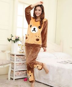 Winter Fashion Cartoon Pocket Long Sleeve Velvet Pajamas