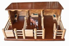Three Horse Stable - Handmade Wooden Toy - ST2 by Country Toys - Handmade Wooden Trucks and Toys