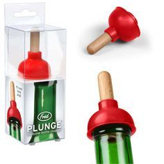 wine bottle topper - Keeping a bottle of wine fresh just got a little funnier with the Plunge Wine Bottle Stopper. This quirky bottle topper is fashioned like a toilet . Plumbing Humor, Slab Leak, Clever Packaging, Packaging Design, Water House, Wine Bottle Stoppers, Tartan, Wines, Alcoholic Drinks