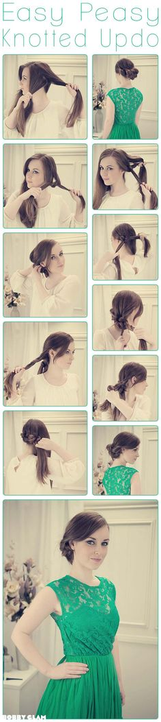 Knotted Updo with a Side Knot Tutorial