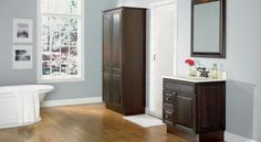 Raised Panel Java Oak Bathroom Cabinets - magic bathroom