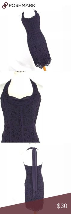 """Betsey Johnson 2 Dress deep purple Formal This gorgeous dress has a halter style with a chiffon tie. This dress is fully lined. EUC Chest - 30"""" Waist - 25"""" Hips - 34"""" Length - 38"""" Betsey Johnson Dresses Backless"""