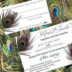 Peacock Poster Custom Wedding Invitations - Blue and Green