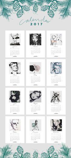18 calendários 2017 (em inglês) para imprimir - esboce amor