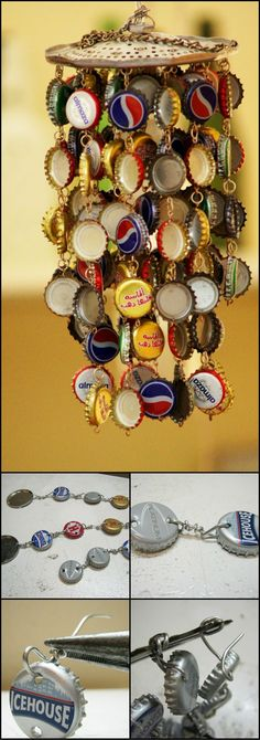 How To Make A Wind Chime From Recycled Bottle Caps theownerbuilderne. How To Make A Wind Beer Bottle Caps, Bottle Cap Art, Beer Caps, Bottle Top, Diy Bottle, Bottle Cap Table, Bottle Cap Projects, Bottle Cap Crafts, Recycled Crafts