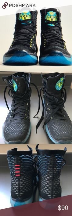 """Men's , Nike Kobe 10 Elite """"Commander"""" sneaker! Men's Nike Kobe 10 Elite """"Commander"""" Black/Metallic Silver-Blue Lagoon-Volt.sneakers are a size 8.5.     The sneakers debuted in 2015 and symbolized the influence President Obama had on Kobe!  The colors were inspired by his Honolulu high schools color. These Pre owned shoes were $225 new and are in good shape. Nike Shoes Sneakers"""