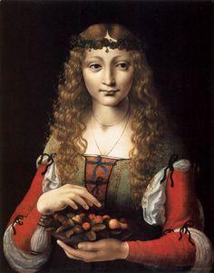 PREDIS, Ambrogio de Girl with Cherries 1491-95 Oil on panel, 49 x 38 cm Metropolitan Museum of Art, New York